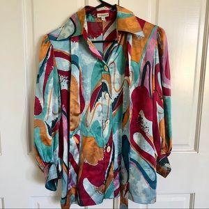 ABI FERRIN 100% Silk blouse with lantern sleeves